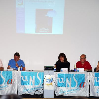 La tribune officielle avec Sylvie Weissler, Présidente du Syndicat